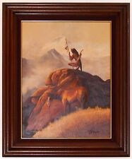 Vintage Native American Warrior Oil Painting by Taylor Man w Horse Wood Frame
