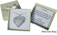 """Heart 925 Silver Plated 18"""" Necklace Filigree Hollow Pendant - Bridesmaid Gift"""