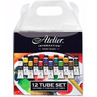 Atelier Interactive 12 Colours x 20ml Artists Acrylic Paint Tubes Set Painting