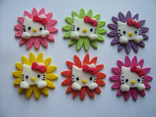 HELLO KITTY FACES ON FLOWERS set of 6 edible cake cupcake decorations