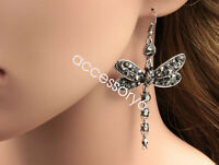 Gorgeous black dragonfly crystal rhinestone lady silver plated hook earrings B40