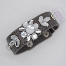 Lia Sophia jewelry wrap leather belt bracelet snap button cut crystals bangle