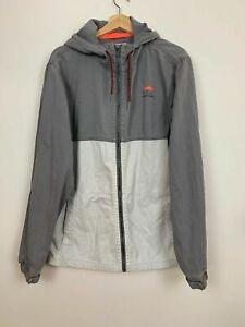 Maui & Sons Mens Grey White Cotton Hoodie Fishing Zipper Jacket Size L A5-06