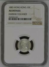 1883 Hong Kong 10 Cents 0.10 Silver Coin NGC AU Details