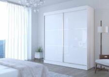 NEW WHITE BLACK SLIDING DOOR WARDROBE 200 CM FREE LED LIGHTS