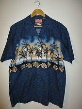 RJC Blue Hawaiian Shirt Palm Trees Palm Leaves Beach Made in the USA Mens XL