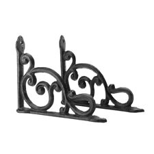 2pcs Antique Style Cast Iron Brackets Garden Braces Rustic Shelf Bracket Brown