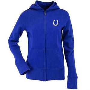 NEW Antigua Indianapolis Colts Ladies Signature Full Zip Hoodie - Royal Blue L