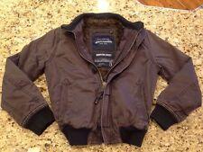 Abercrombie Harrison Jacket BOYS Navy / Gray Fur Lined Bomber Jacket size L Coat