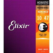 Phos bronce Elixir 16152 Nanoweb recubierto de 12 Cuerdas Acústica Cuerdas Luz 10-47