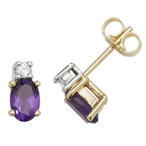 9ct Yellow Gold Oval Shaped Amethyst and Diamond Stud Earrings