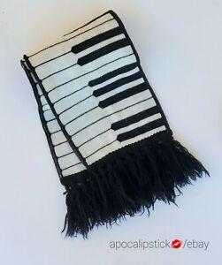 1980s Keyboard Scarf New Wave Original Piano Made in USA Edgerton New York