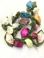 Random LOT 100 Satin Ribbon Rose Flower  Applique Sewing Bow Craft Mix