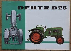 orig. Prospekt Deutz D25 Traktor Schlepper 1961