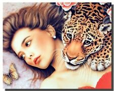 Lady With Leopard Jungle Love Fine Home Wall Decor Art Print Poster (16x20)