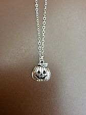 FREE GIFT BAG Silver Plated Cute Pumpkin Necklace Chain Goth Halloween Jewellery