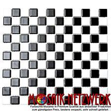 Mosaik schachbrett schwarz/wei�� matt Fliesenspiegel Küche Art: 18-0305| 10Matten