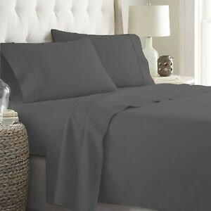 Glorious 4 Piece Sheet Set 1000 TC Egyptian Cotton Gray Solid Full Size