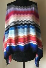 Missoni Unica Zigzag Chevron Wool Blend Poncho Sweater Fringed Orange Label Blue