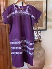 Vintage 70's Ethnic Purple Cotton Mexican Guatemalan Knee Length Dress