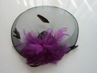 LARGE FASCINATOR by Juelz | Purple | Sinamay | Feathers | 2 Clips Wedding (77A)