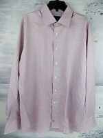 $135 NWT David Donahue Trim Lilac Plaid Dress Shirt Size 17.5-36/37