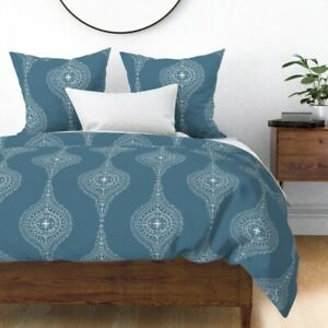 Dusty Blue White Drawn Moroccan Modern Sateen Duvet Cover by Roostery