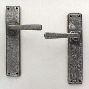 "10"" Cube Pewter Lever Door Handles Set Latch Lock Bathroom HeavyPewter Handle"