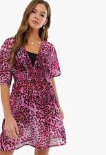 Womens Pink Leopard Print Beach Dress