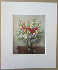 "Vernon Ward, Summer in Wedgewood -Traditional 1960s Floral 10""x12"" Mounted Print"