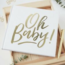 Ginger Ray White Gold Foiled Christening Naming Guest Book Baby Shower Album 128