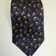 Museum Artifacts Skiing Winter Sports Silk Tie.   59L x 4W.         (T2)
