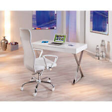 Bureau meuble informatique tiroir rectangulaire design moderne BLANC BRILLANT