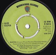 Alice Cooper ORIG UK 45 Elected EX 1972 Warner K16214 Hard Rock Detroit Rock
