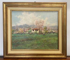 Gravina Antonio (Napoli 1934-2011) dipinto ad olio su tela paesaggio primaverile