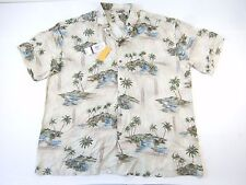MODE CAMPIA FLORAL HAWAIIAN LIGHT BEIGE 2XB BIG TALL BUTTON DOWN SHIRT MENS NWT