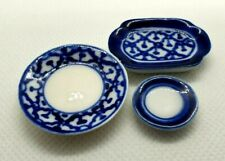 Dollhouse Miniatures Set of 3 blue & white plate home decor collectible gift
