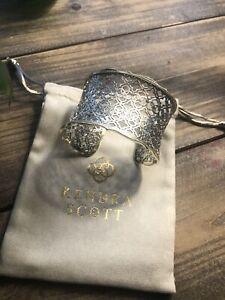 Authentic KENDRA SCOTT Candice Filigree Logo Gold/Rhodium