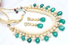 Indian Bollywood Ethnic Green Pearl Kundan Necklace Earring Set Nice Jewelry