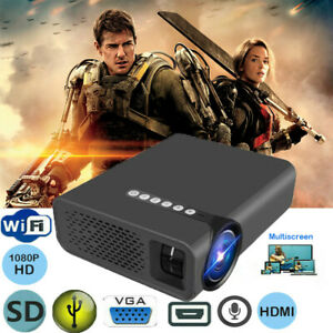 LED WIFI Home Theater Projector 1080P FHD 3D Video Movie VGA USB HDMI AV SD UK