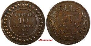 Tunisia Muhammad IV Bronze 1904 A 10 Centimes Toned KM# 229 (19 059)