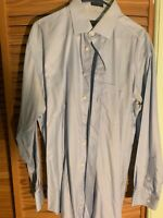 Pronto Platinum 17 34/5 Button Cuff Spread Collar Mens Dress Shirt Sky