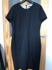 M&S Collection Black Work Dress Office Wear Secretary UK 18 With Detail