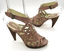 MAX STUDIO Size 7 Beige Tan Strappy Stacked High Wood Heel Sandals