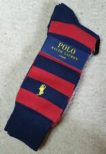Polo Ralph Lauren ~ Mens Navy & Red Socks, 2 pairs ~ One Size, 6-11~ NEW