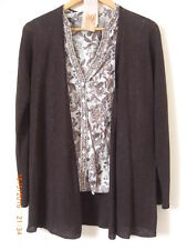 East Dark Bitter Brown Linen Pointelle A Line Cardigan S UK 8 10 New With Tags
