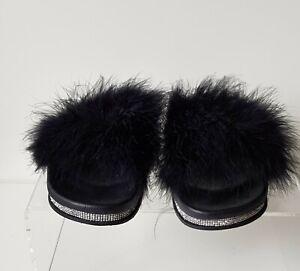"Novo ""Peaacock Thongs"" Size 10 Black Feather Top Rhinestone Edge Slides Slippers"