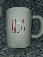 "Rae Dunn By Magenta ""USA"" Fourth of July Coffee Mug Cup Red Interior Blue USA"