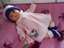 ens manteau hello kitty compatible poupée reborn,baigneur,antonio juan 40/45 cm
