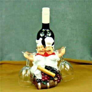 Chef Goblet Bottle Holder Sculpture Figurine Tabletop Home Office Decoration Art